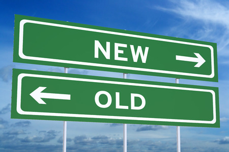accomplishments: new or old concept on the road signpost, 3D rendering Stock Photo