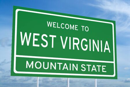 3d virginia: Welcome to West Virginia state concept on road sign, 3D rendering