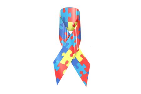 awareness ribbon: Autism Awareness Ribbon, 3D rendering isolated on white background