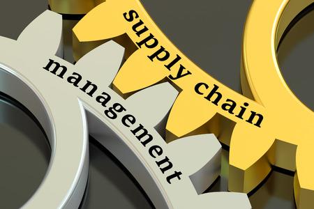 Supply Chain Management concept op de tandwielen, 3D-rendering