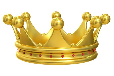 jeweled: Golden Crown, 3D rendering isolated on white background Stock Photo