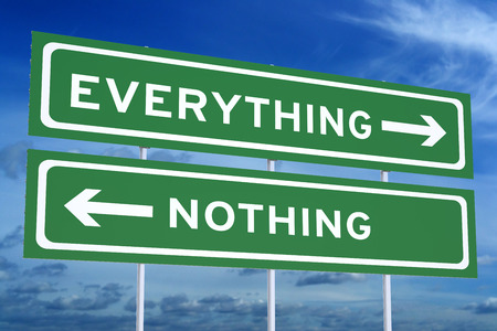 Everything or Nothing concept on the road signpost, 3D rendering