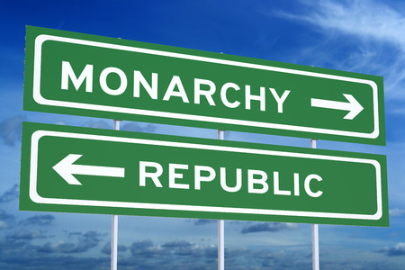 monarchy: monarchy or republic concept on the road signpost, 3D rendering Stock Photo