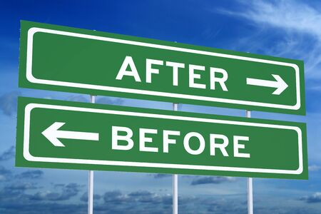 after: After or Before concept on the road signpost, 3D rendering Stock Photo