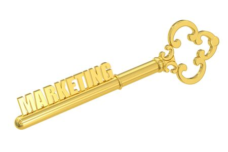 golden key: Marketing concept with golden key, 3D rendering