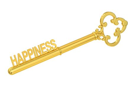 golden key: Happiness concept with golden key, 3D rendering