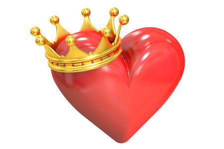 jeweled: Heart with crown, 3D rendering isolated on white background Stock Photo