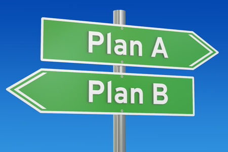 signpost: plan A or plan B alternative options on the road signpost, 3D rendering Stock Photo
