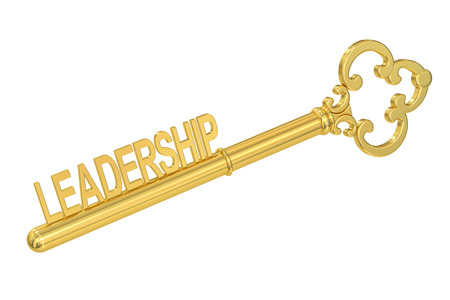 leadership key: Leadership concept with golden key, 3D rendering