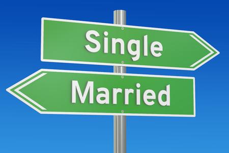 casados: concepto solteros o casados ??en el poste indicador, 3D