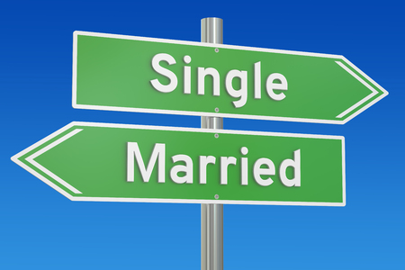 single: single or married concept on the signpost, 3D rendering
