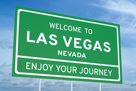accomplish: Welcome to Las Vegas road sign, 3D rendering Stock Photo