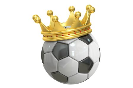 crowned: Gold crown soccer ball, 3D rendering isolated on white background