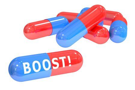 Aumentar! píldoras concepto con las píldoras, representación 3D aislada en el fondo blanco Foto de archivo - 54624182