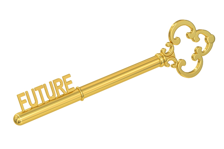 fate: Future concept with golden key, 3D rendering Stock Photo