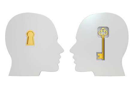 heads with key , 3D rendering isolated on white background Reklamní fotografie