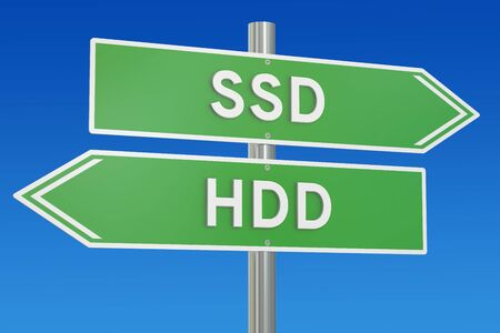ssd: SSD vs HDD concept, 3D rendering isolated on white background