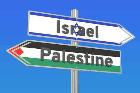 Israel and Palestine crisis concept, 3D rendering Stock Photo