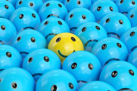 悲しいもの、3 D の間の幸せな笑顔をレンダリング 写真素材