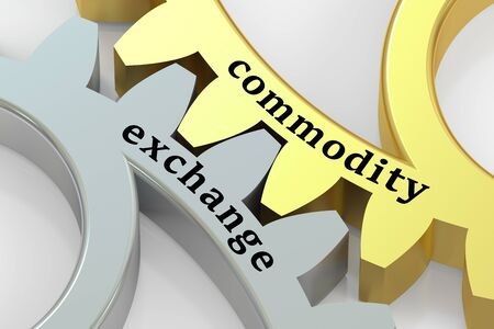 futures: Commodity Exchange concept on the gearwheels, 3D rendering