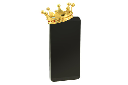 kingly: smartphone with crown isolated on white background, 3D rendering