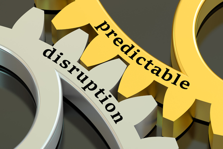 disruption: predictable disruption concept on the gearwheels, 3D rendering Stock Photo