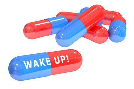 awakening: Wake up! pills concept with pills, 3D rendering isolated on white background