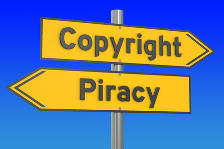piracy: copyright vs piracy concept, 3D rendering
