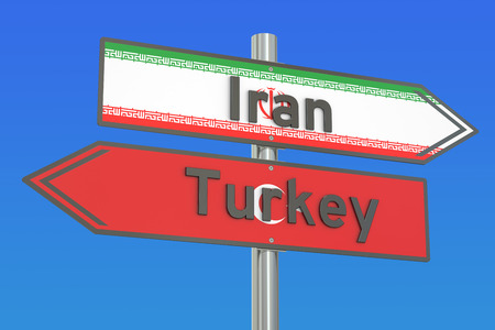 relations: Iran and Turkey relations concept, 3D rendering Stock Photo
