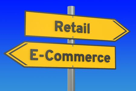 web store: e-commerce or retail concept, 3D rendering
