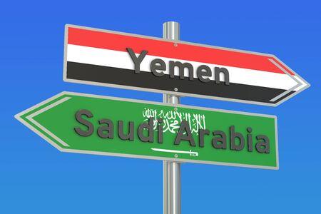 Yemen and Saudi Arabia war conflict concept, 3D rendering Stock Photo