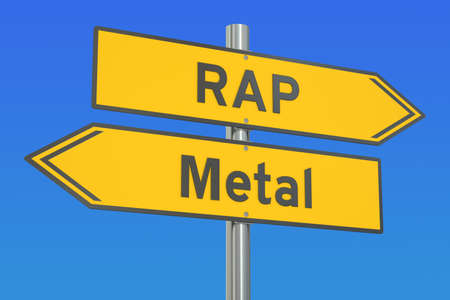 versus: Rap versus Metal concept, 3D rendering Stock Photo