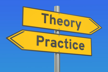 theoretical: theory or practice concept on the road signpost, 3D rendering