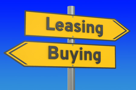 leasing: leasing or buying concept on the road signpost, 3D rendering