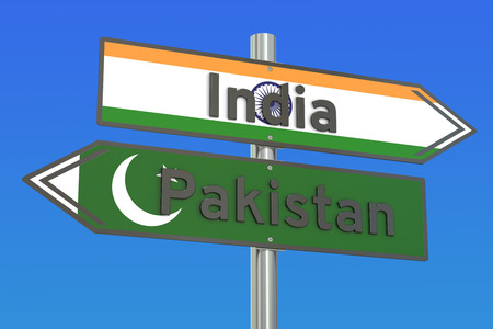 India and Pakistan relations concept, 3D rendering
