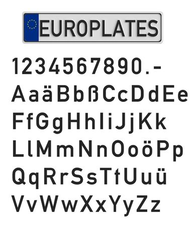 blank metallic identification plate: car registration plate with set of numerals and letters, 3D rendering Stock Photo