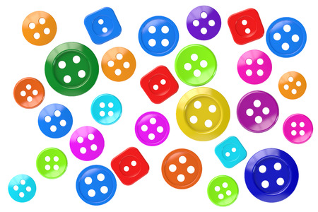 sewing buttons: colored sewing buttons clothing, 3D rendering