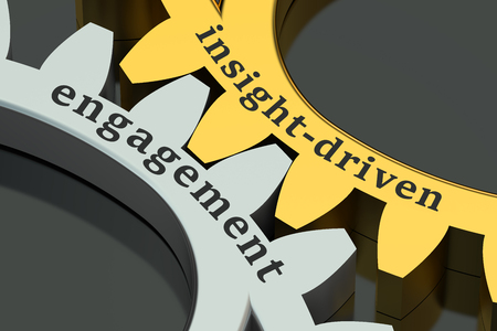 insight-driven engagement concept on the gearwheels, 3D rendering