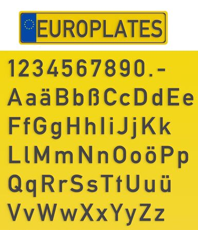 blank metallic identification plate: Vehicle registration plate with set of numerals and letters, 3D rendering