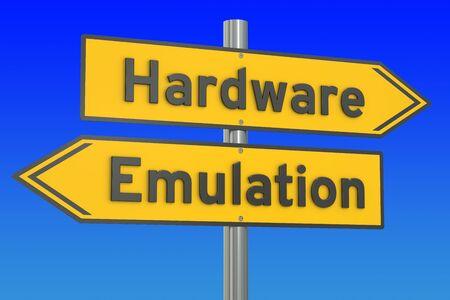 emulation: Hardware vs Emulation concept, 3D rendering