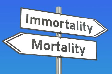 the righteous: immortality or mortality concept on the road signpost, 3D rendering