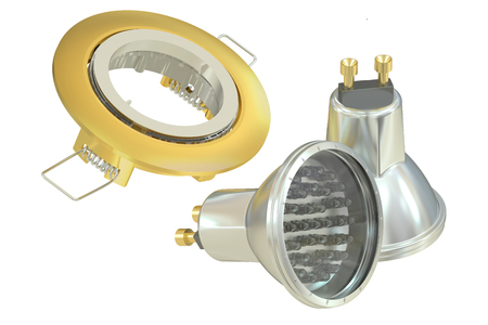 recessed: recessed light with LED (Light Emitting Diode) lamps, 3D rendering Stock Photo
