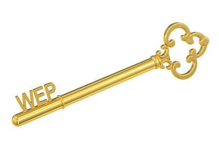 wep: wep concept with golden key, 3D rendering Stock Photo