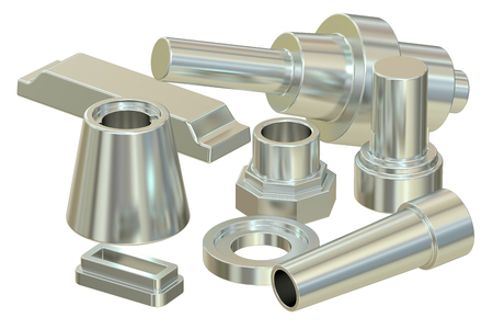 cast or forged steel (aluminum) parts, 3D rendering Stock Photo