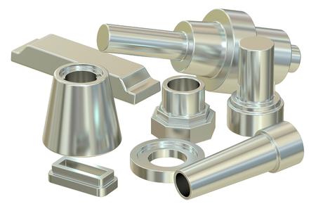 Fundido o acero forjado partes (aluminio), 3D Foto de archivo - 55296535