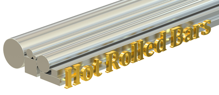 rolled: Hot rolled bars concept, rolled metal. 3D rendering Stock Photo