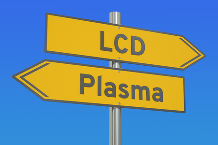 lcd: LCD vs Plasma concept, 3D rendering Stock Photo