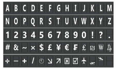 electromechanical: Set of letters on a mechanical scoreboard, 3D rendering