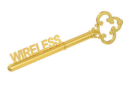 golden key: wireless concept with golden key, 3D rendering