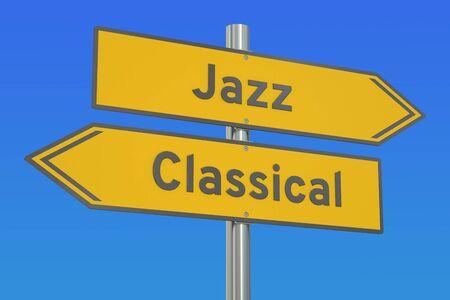 versus: Jazz versus Classical concept, 3D rendering